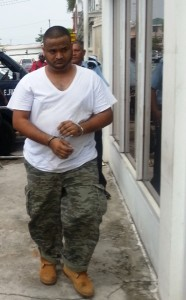 Murder accused: Randy Jagdeo arrives at the Georgetown Magistrate's Court.