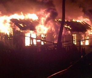 Fire engulf the Plaisance house.