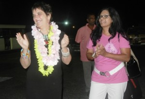Eve Ensler [left] and OBR's Regional Coordinator, Dianne Madray. [iNews' Photo]