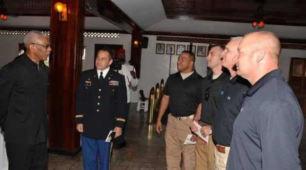 President meets Florida National Guard team –	training GDF soldiers in disasters management