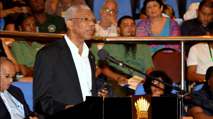 President David Granger delivering the feature address at the opening of the 10th Annual National Toshaos Council Meeting