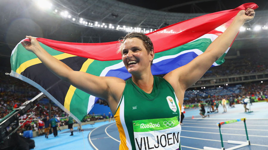 RIO DE JANEIRO, BRAZIL - AUGUST 18:  Sunette Viljoen of South Africa celebrates winning silver in the Women's Javelin final on Day 13 of the Rio 2016 Olympic Games at the Olympic Stadium on August 18, 2016 in Rio de Janeiro, Brazil.  (Photo by Alexander Hassenstein/Getty Images)