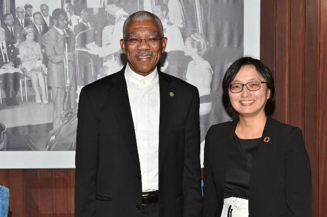 President David Granger and Ms. Mikiko Tanaka, the new United Nations Development Programme's Resident Representative to Guyana