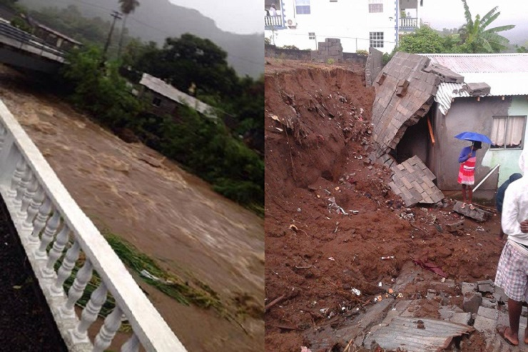 Tropical Storm Matthew's heavy rains caused flooding and overflowed rivers. The photo at left, shows the situation at one bridge. (Photo credit: Ĵòjô Bäê via iWitness News.) At right, occupants of this house escaped unhurt when this wall collapsed last night. (Photo credit: iWitness News)