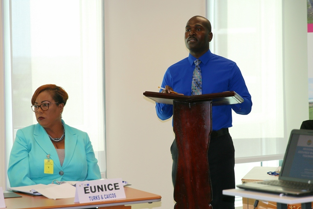 Michel Thomas, Operations Officer at the CDB, speaking during the opening ceremony on September 5, 2016.