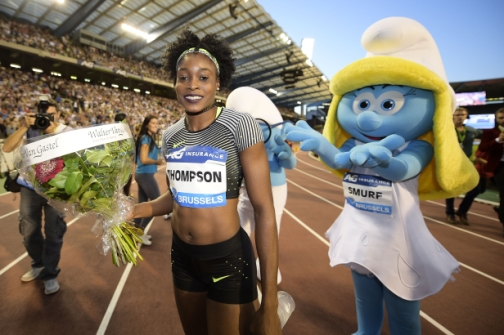 Elaine Thompson poses after winning the women's 100m race during the 2016 edition of the AG Insurance Memorial Van Damme IAAF Diamond League athletics meeting, on September 9, 2016 in Brussels. (Photo: AFP)