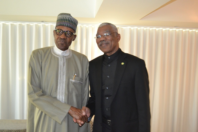 President David Granger and President Muhammadu Buhari of Nigeria