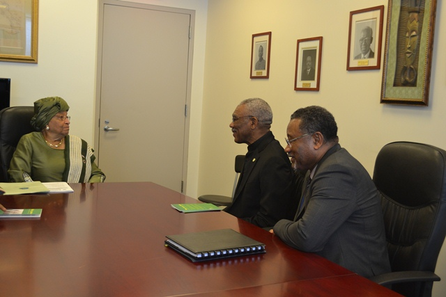 President David Granger and Permanent Representative to the United Nations for Guyana, Mr. Michael Ten-Pow meeting with President Ellen Johnson Sirleaf of Liberia