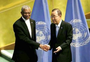 President Granger being congratulated by Secretary-General Ban Ki-moon on Guyana's ratification of the Paris Agreement on climate change.
