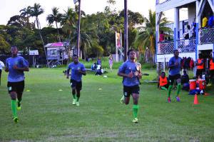 "Some of the Golden Jaguars players engaged in the ""beep test"""