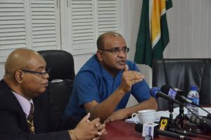 Opposition Leader Dr Bharrat Jagdeo addressing reporters today