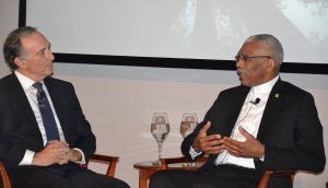 President David Granger and Chief Executive Officer and Co-founder of Conservation International, Mr. Peter Seligmann, who chaired the panel discussion at the official Board dinner.