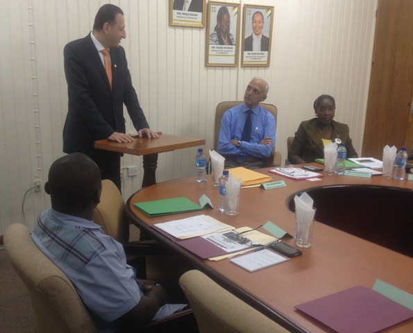 Minister of Communities, Ronald Bulkan and Minister responsible for Housing, Valerie Patterson listen as Director of Country Programs Department and Special Advisor to the Vice-President, Mohammad Alsaati explains the collaboration between Guyana and the Islamic Development Bank (IsDB)