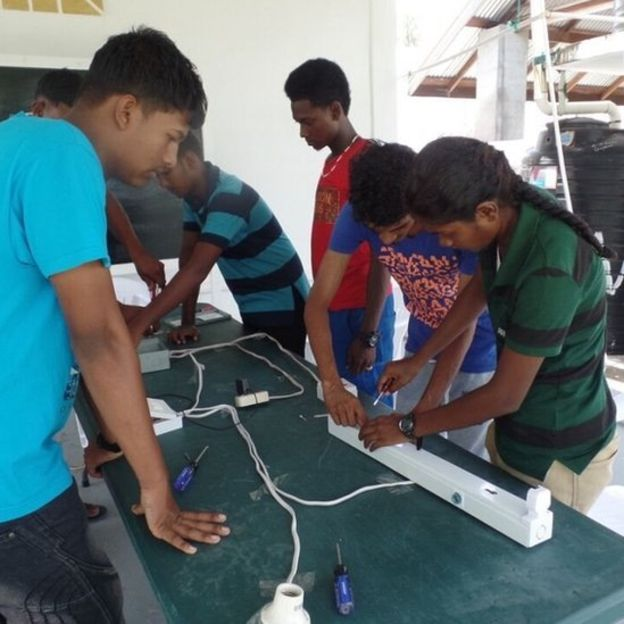 Youngsters are taught practical skills at the Sunrise Center (BBC photo)