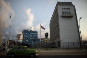 A vintage car passes by the U.S. Embassy in Havana, Cuba, September 21, 2016. REUTERS/Alexandre Meneghini
