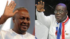 The main opponent for President John Mahama (L) on 7 December will be Nana Akufo-Addo (R)