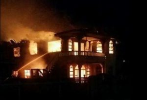The house at Grove up in flames