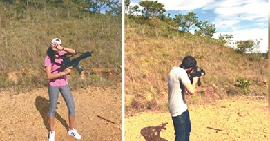 The photos of Attorney General Faris Al-Rawi's children using guns at the range at Camp Cumuto which Prime Minister Dr Keith Rowley yesterday accused a member of the Defence Force of leaking.