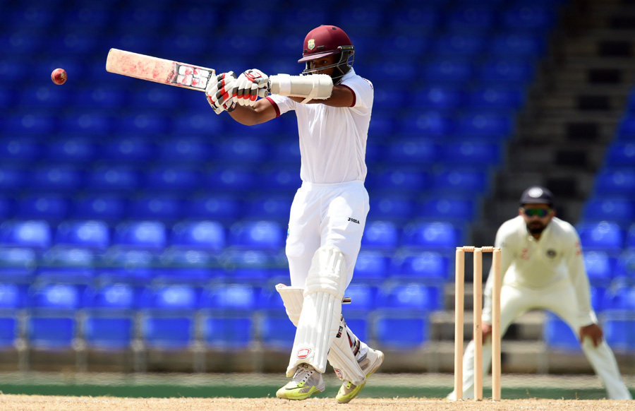 WICB President's XI squad cricketer Shai Hope plays a shot during the final day of the three-day tour match between India and WICB President's XI squad at the Warner Park stadium in Basseterre, Saint Kitts, on July 16, 2016. / AFP / Jewel SAMAD        (Photo credit should read JEWEL SAMAD/AFP/Getty Images)