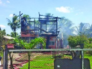A Sunday blaze destroyed the upper flat of an A Field, Sophia house