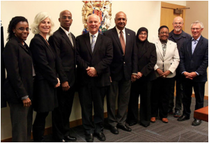 Left to right: JES Guyana Country Representative Rolinda Kirton, JES Guyana Project Manager Evelyn Neaman, Justice Brassington Reynolds, Chief Judge Thomas Crabtree, Chancellor Carl Singh, Director of Public Prosecutions Shalimar Ali-Hack, Chief Magistrate Ann McLennan, Vancouver lawyer Chris Johnson, and Judge Michael Hicks (retired)