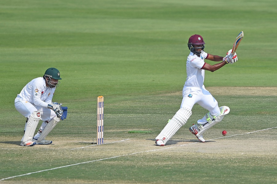 ABU DHABI, UNITED ARAB EMIRATES - OCTOBER 24: Kraigg Brathwaite of West Indies bats during Day Four of the Second Test between Pakistan and West Indies at Zayed Cricket Stadium on October 24, 2016 in Abu Dhabi, United Arab Emirates.  (Photo by Tom Dulat/Getty Images)