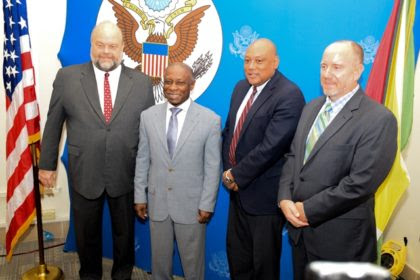 From L –R: US Ambassador to Guyana Perry Holloway, Acting Prime Minister Carl Greenidge, Minister of Natural Resources Raphael Trotman and Country Representative of The Carter Centre Jason Calder