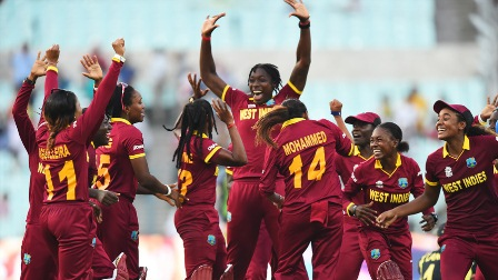 West Indies celebrate their Women's World Twenty20 victory in India earlier this year (Photo: AFP)