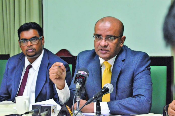 "Opposition Leader Bharrat Jagdeo and PPP/C MP Irfaan Ali at the post-Budget Presentation press briefing. The Opposition Leader bluntly declared that ""this is the worst budget"" he has ever seen."