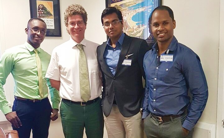 The British High Commissioner to Guyana, James Gregory Quinn with three of the Guyanese representatives
