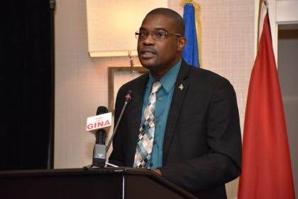 Minister of Public Infrastructure, David Patterson delivering remarks at the presentation of the final results of the Guyana –Brazil market study for the land transport link and deep water port project