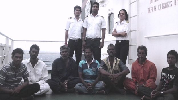 The fishermen onboard the Sampurna Swarajya after the rescue, with Capt Menon standing behind them (Shipping Corporation of India photo)