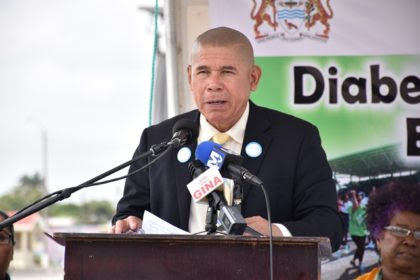 Dr. George Norton, Minister of Public Health, giving the feature address at the Diabetes Health fair and exhibition