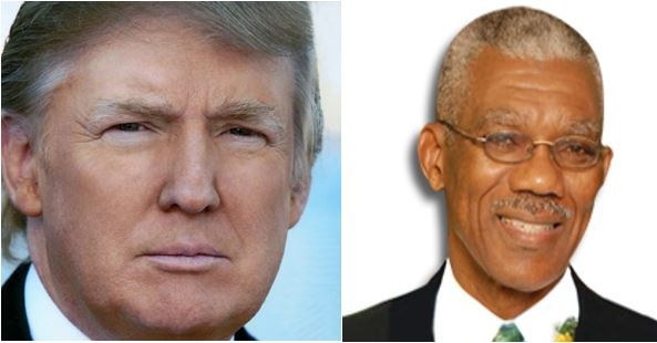 Composite photo shows US President-elect Donald Trump and Guyanese Head of State David Granger