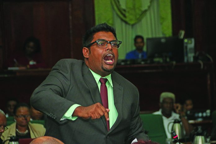 Former Housing Minister Irfaan Ali delivering an impassioned presentation in the National Assembly
