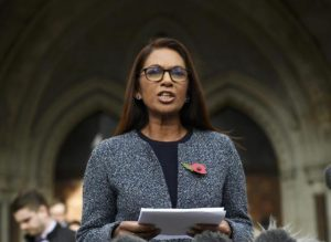 Gina Miller speaks outside the High Court following its ruling on a challenge to the British government's right to start divorce proceedings from the European Union, in central London November 3, 2016. REUTERS/Toby Melville