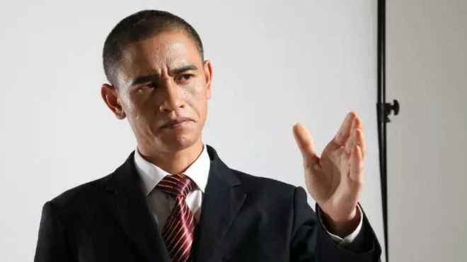 Barack Obama impersonator Xiao Jiguo demonstrates one of his 'Obama' looks (Xiao Jiguo photo)