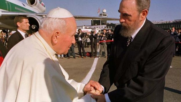 Years on he would meet Pope John Paul II, despite declaring Cuba an atheist state (AP photo)