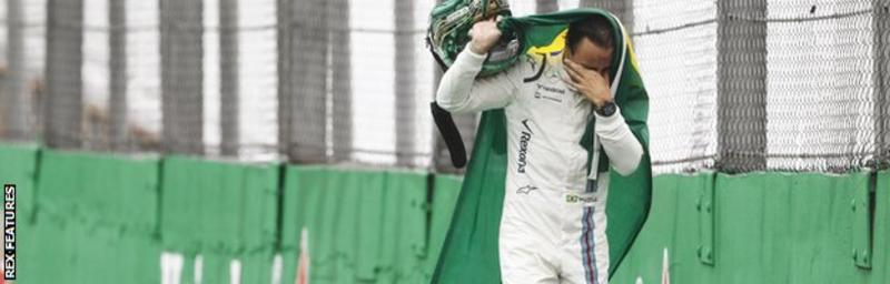 Home hero: Felipe Massa crashed out at his final home race, but received a standing ovation from the crowd...