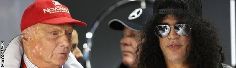 """Sooooo, you been on holiday this year?"" Niki Lauda strikes up the small talk with ex-Guns'N'Roses guitarist Slash"