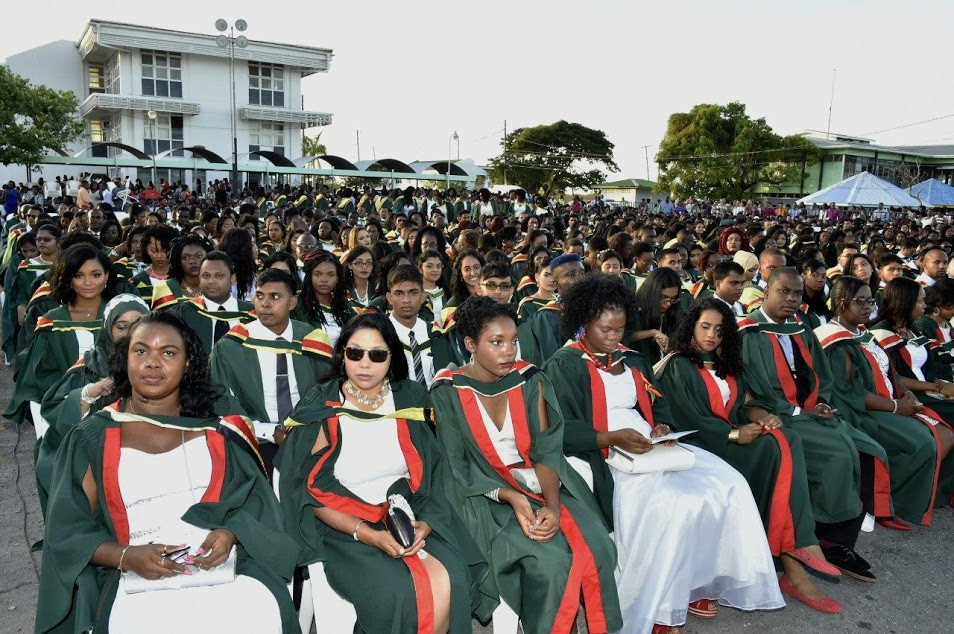 A section of the 1,628 students, who graduated from the University of Guyana's Turkeyen Campus, last evening