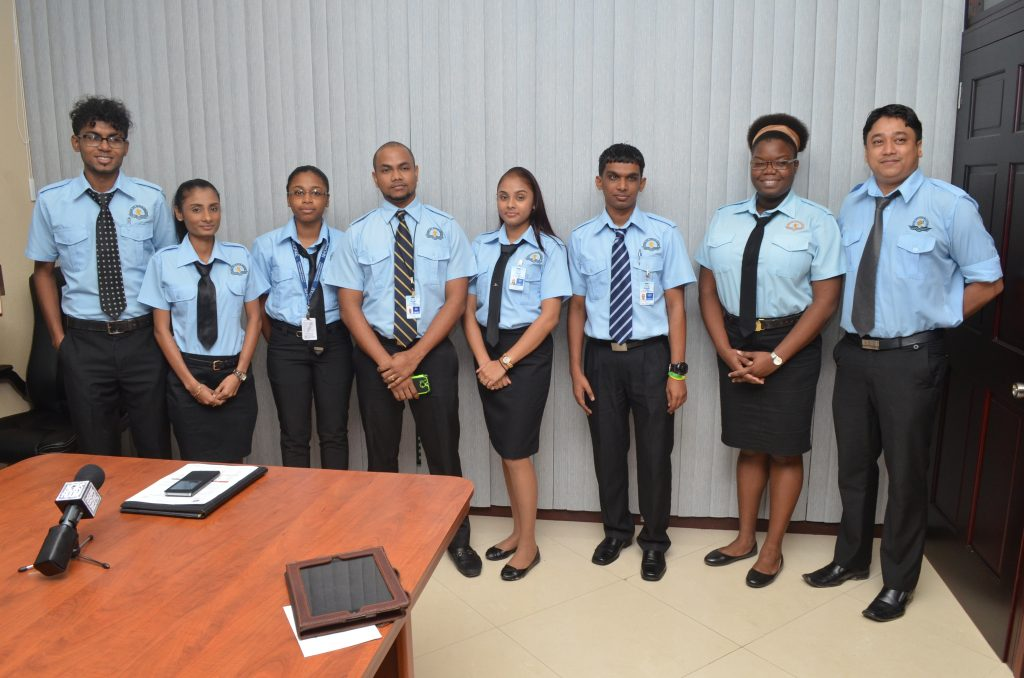 Guyana Civil Aviation Authority (GCAA) Air Traffic Control Training officers that excelled; Yogeshwar Bodyadhar, Karen Budhoo, Safina Latchman, David Sundar, Joann Lall, Devindra Kissoon, Conny Wills, and Tyrone Persaud.