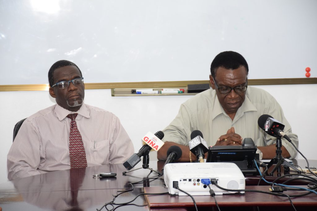 Acting chief Executive Officer, GPL Renford Homer (left) and Deputy Chief Executive Officer (DCEO), Technical, GPL, Elwyn Marshall briefing media today at the press conference at GPL