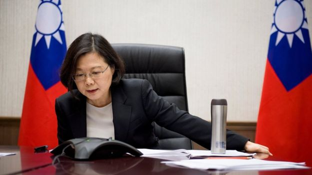In an image released by her office, Taiwan's President Tsai Ing-wen is seen speaking on the phone to Mr Trump (Reuters photo)
