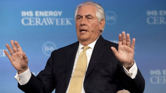 """""""Rex Tillerson's career is the embodiment of the American dream,"""" Mr Trump said (Reuters photo)"""