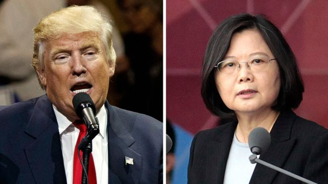 """Donald Trump's team said he """"congratulated"""" Tsai Ing-wen on becoming president of Taiwan in January (AP Image)"""