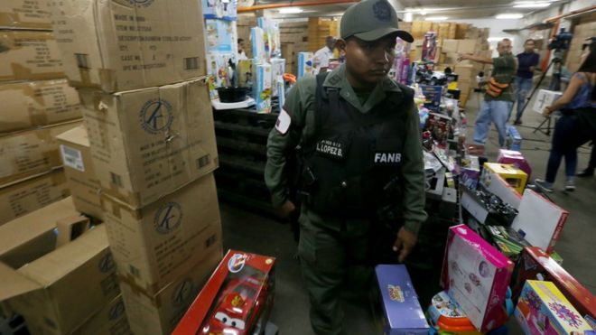 Armed soldiers raided the toy distributor's warehouses