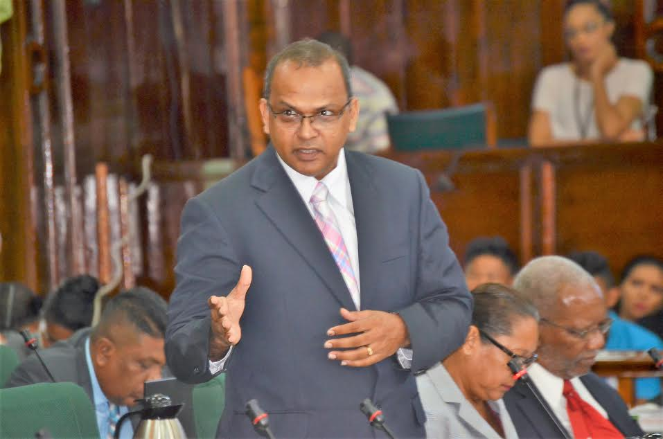 Dr Frank Anthony speaking in the  National Assembly yesterday (Carl Croker photo)