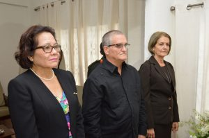 First Lady, Mrs. Sandra Granger, Ambassador Mr. Julio Cesar Gonzalez Marchante and another staff of the Cuban Embassy here in Georgetown, paying their respects to the late Cuban leader.