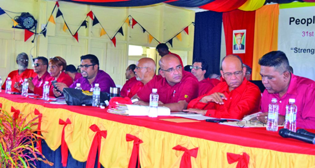 Members of the PPP Executive at the headtable during the Party's 31st Congress held last weeked